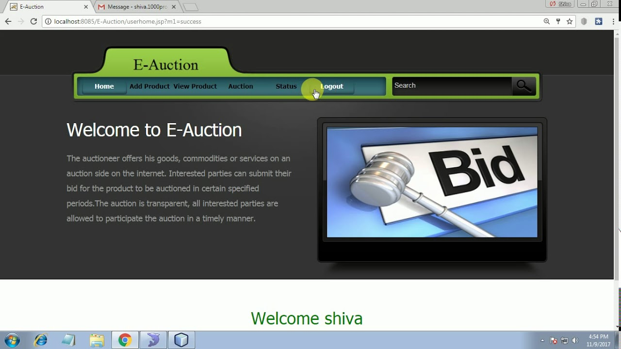 online auction system project in java pdf