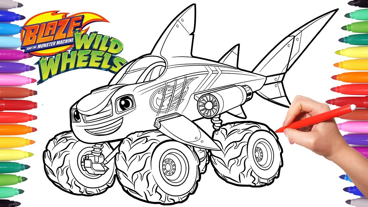 Blaze moster machines wild wheels shark blaze coloring pages blaze monster truck coloring
