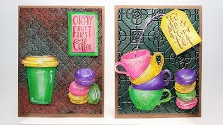 Coffee & Tea Themed Cards PLUS Baked Enamels and Distress Crayons