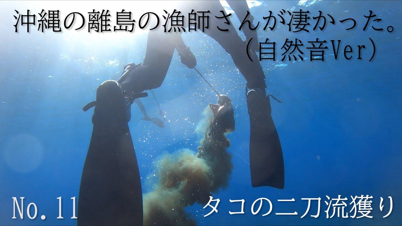沖縄の離島の漁師さんが凄かった。タコの二刀流獲り[沖縄離島魚突き] (自然音)No.11