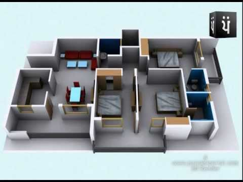 3d walkthrough apartment interior youtube for Best interior designs for 3 bhk flats
