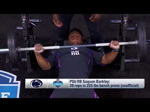 Penn State Running Back Saquon Barkley Puts Up 29 Reps On Bench Press Youtube