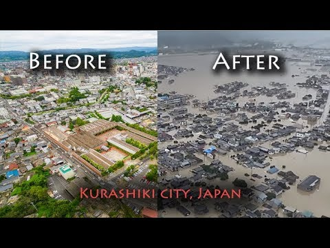 Kurashiki city in Japan , before and after the flood, Okayama prefecture floods