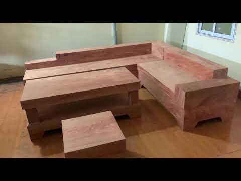 Bộ bàn ghế phòng khách: sô fa góc, hàng ốp, gỗ hương đá