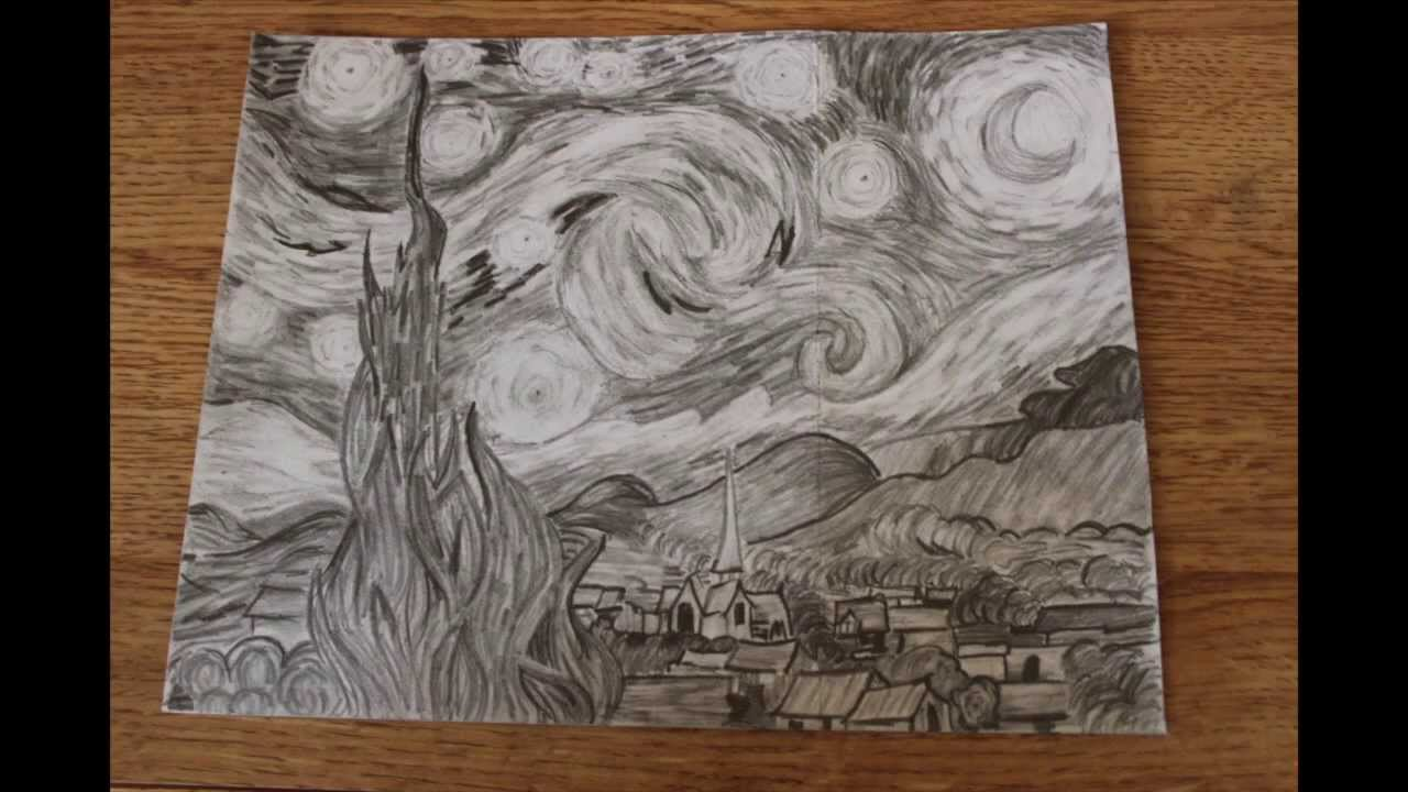 starry night drawing - YouTube