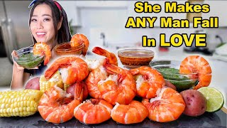 BIGGEST SHRIMP ft. SAS-ASMR + BLOVESLIFE SEAFOOD SAUCE MUKBANG | Eating Show
