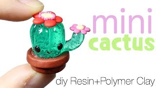 How to DIY Cute Miniature Cactus Resin/Polymer Clay Tutorial