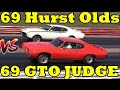 Ram Air IV GTO Judge vs 455 Hurst Olds - 1/4 Mile Drag Race Video - Road Test TV