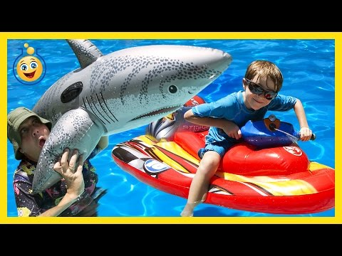 Thumbnail: GIANT Inflatable Shark, Water Balloons Fight & Pool Tricks w/ Water Toys Family Fun Video for Kids