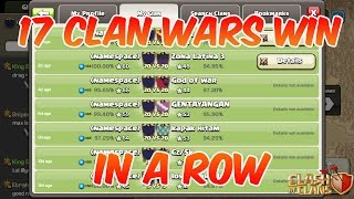 17 Clan Wars Winning IN A ROW | Clash of Clans