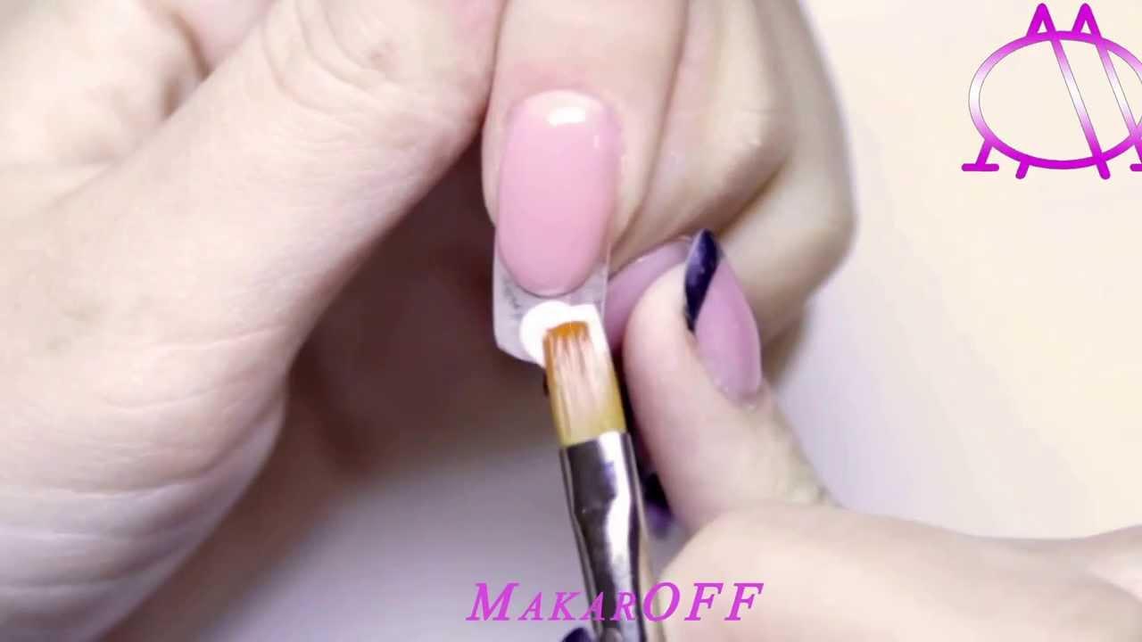 Как гелем наращивать ногти на формы гелем видео