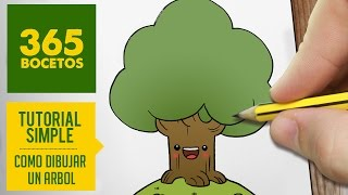 COMO DIBUJAR UN ARBOL KAWAII PASO A PASO - Dibujos kawaii faciles - How to draw a tree