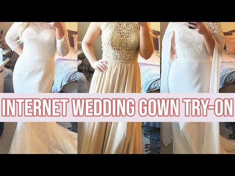 TRYING ON INTERNET WEDDING GOWNS | $220 & UNDER JJsHOUSE WEDDING DRESSES