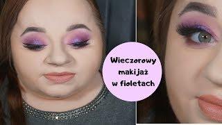 Wieczorowy makijaż w fioletach + strój dnia