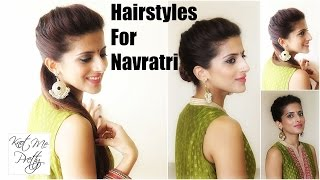 Hairstyles For Navratri | 1 Hairstyle 3 Easy Ways | Indian Hairstyles For Medium Hair