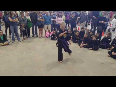 8 Year Old With Mosaic Down Syndrome Performing In Karate Competition