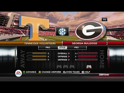 NCAA Football 14 Georgia vs Tennessee w/ updated 2017 UGA Roster