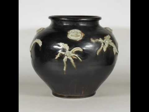Black Glaze Jar with Moulded Human Face and Dragon, Song Dynasty