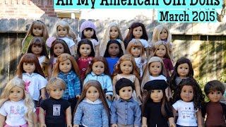 All of my American Girl Dolls as of March 2015