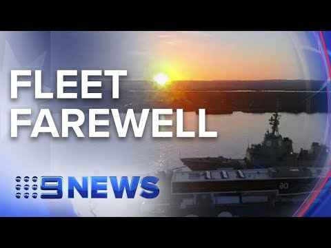 Emotional scenes as navy ships depart for South Asia | Nine News Australia