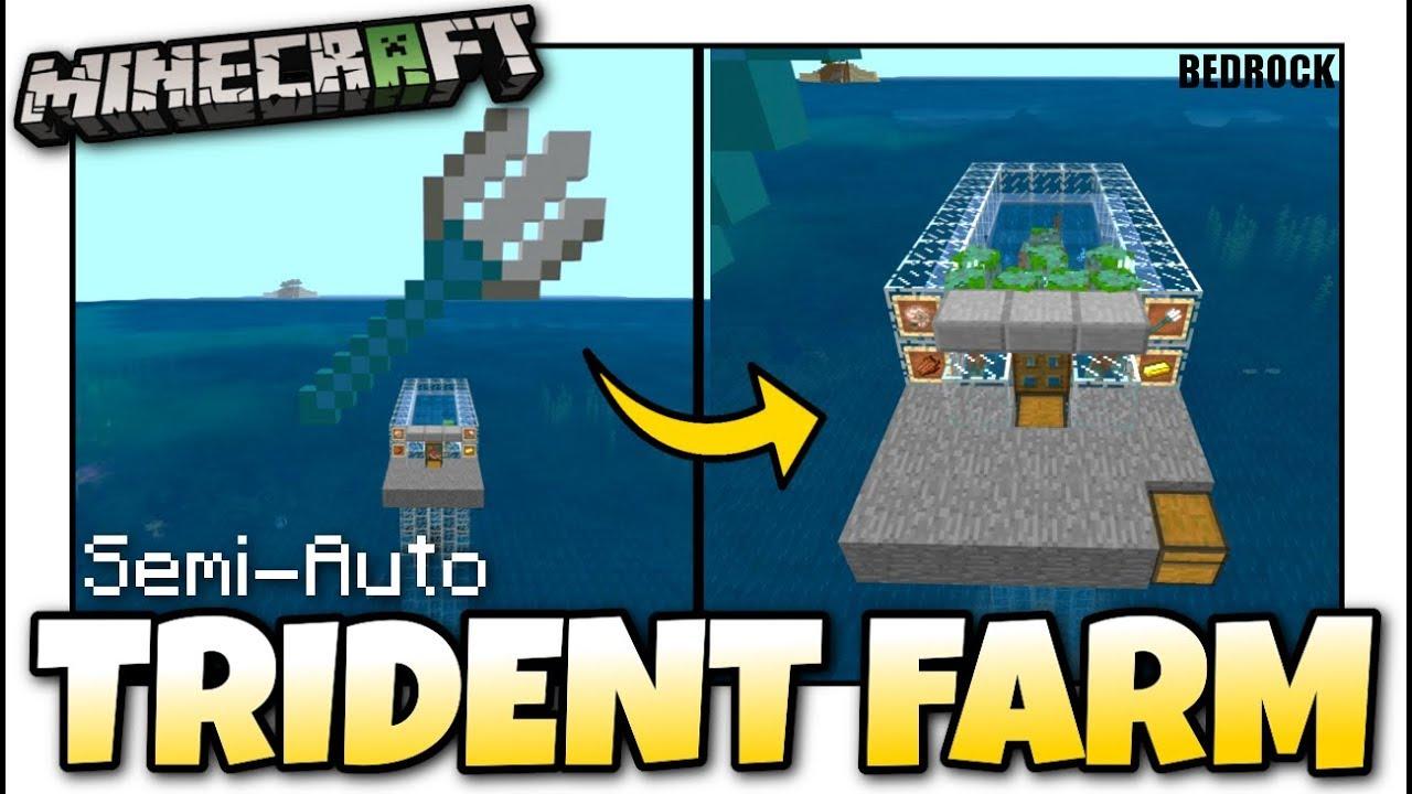 Minecraft Trident Farm Semi Auto Tutorial Mcpe Xbox Bedrock Youtube