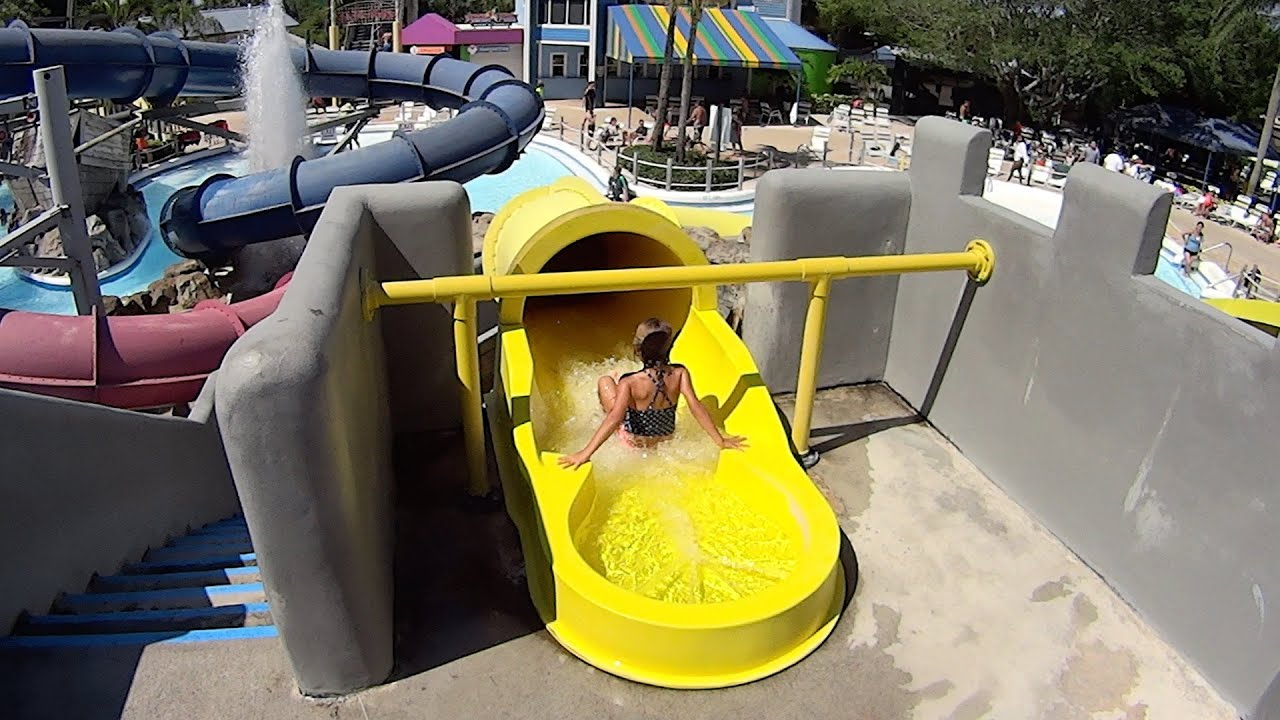 yellow blaster water slide at rapids water park