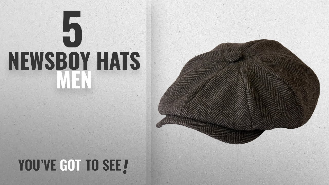 1ffc3f1d Top 10 Newsboy Hats Men [2018]: 'Shelby' Newsboy Grey Herringbone ...