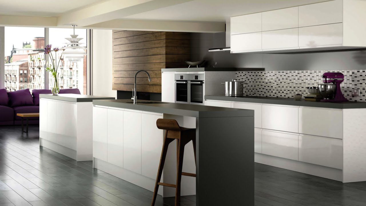 High Gloss White Modern Kitchen Cabinets   Brands, Options U0026 Pricing For  High Gloss White Cabinets   YouTube