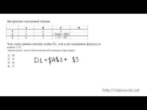 A7. Электронные таблицы ЕГЭ по информатике 2013