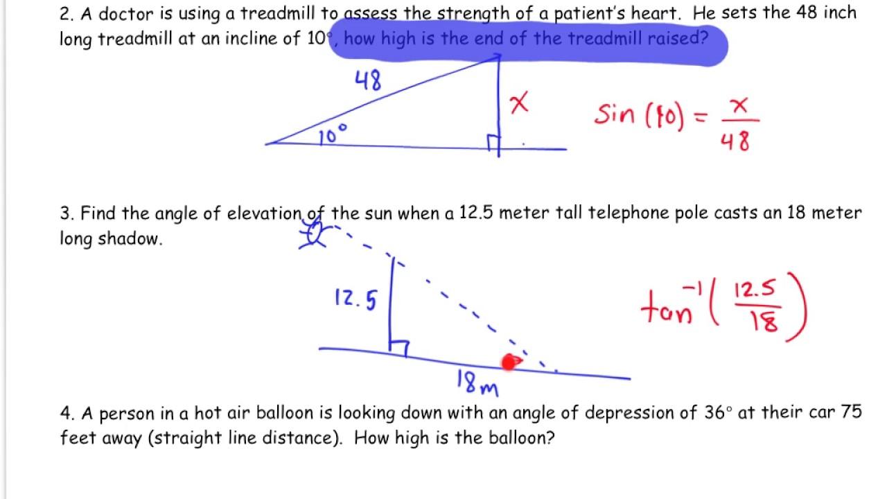 Applications of Trigonometric Ratios (Word Problems ...  |Trigonometry Word Problems