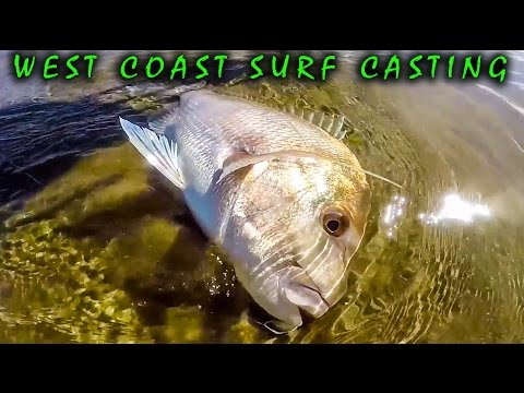 West Coast - NZ - Surfcasting For Snapper And Trevally