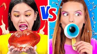 EATING RED VS BLUE COLOR OF FOOD! || Funny Mukbang by 123 Go! Gold