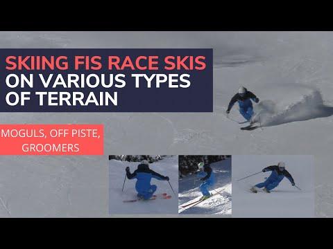 Skiing FIS Race Skis On Various Types Of Terrain (moguls, Groomed Blue, Groomed Black)