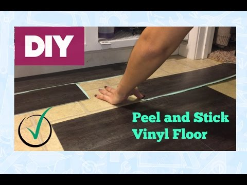 Peel and Stick Vinyl Floor Install- Araceli Chan Home Family DIY