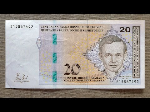 20 Bosnian Convertible Mark Banknote (Twenty Convertible Mark Bosnia and Herzegovina: 2012)