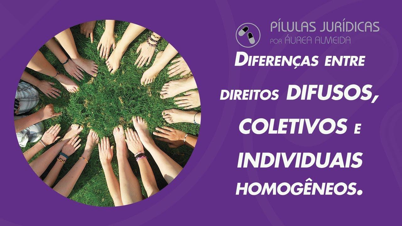Diferenças entre direitos difusos, coletivos e individuais homogêneos