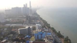 Пляж Джомтьен - панорама с крыши 30-этажного отеля. Паттайя.(Панорама пляжа Джомтьен с высоты комариного полета.., 2016-09-04T13:35:56.000Z)