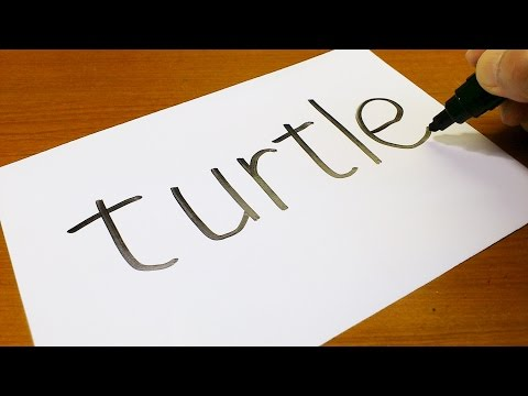 Very Easy ! How to turn words TURTLE into a Cartoon - Easy and Cute art on paper for kids