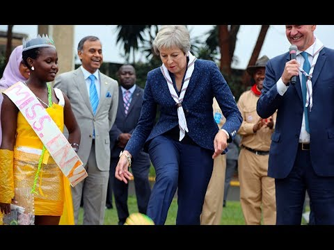 UK Prime Minister Theresa May Dances with Kenya Scouts