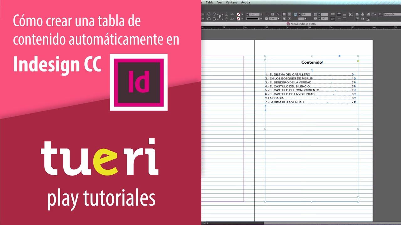 Cómo crear una tabla de contenido automáticamente en indesign - YouTube
