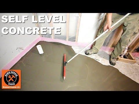 How to Self Level Bathroom Floors Part 2...Adding Leveler Over Concrete -- by Home Repair Tutor