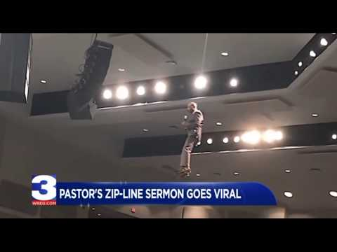 Doc Reno - Pastor gives sermon on a zip line