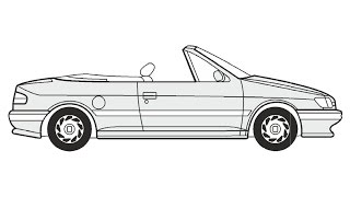 How to Draw a Peugeot 306 Cabriolet / Как нарисовать Peugeot 306 Cabriolet
