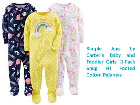 489c293aa Simple Joys by Carter s Baby and Toddler Girls 3 Pack Snug Fit Footed  Cotton Pajamas