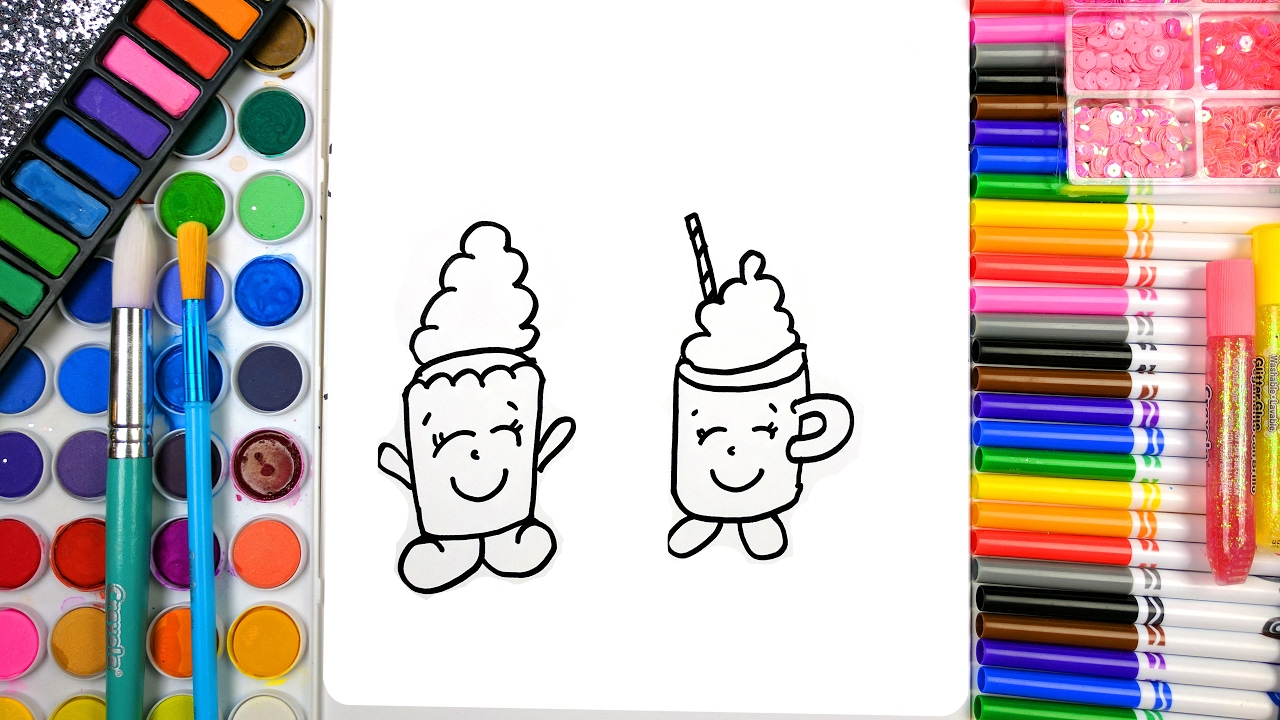 learn to color for kids and color happy cute cupcake coloring page