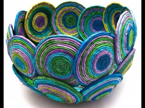 Haz una cesta con hojas de revista manualidades de papel hauntermake youtube - Manualidades con papel craft ...