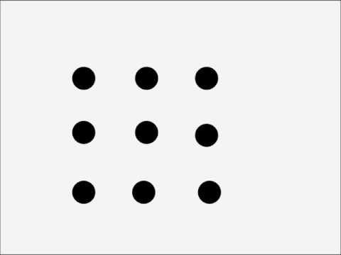 Как четырьмя линиями соединить 9 точек