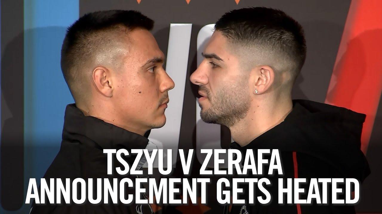 Tim Tszyu and Michael Zerafa trade insults in heated announcement