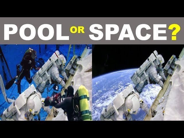 SPACE WALKS FILMED IN A POOL?  YOU DECIDE - Flat Earth bubbles underwater pool zero g vacuum