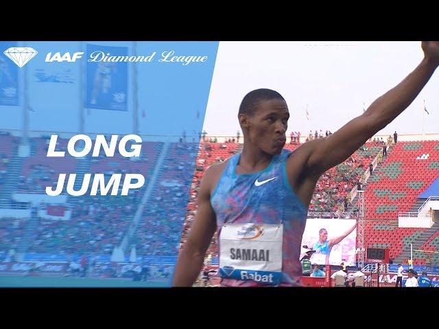 Rushwal Samaai jumps 8.35 to win the Men's Long Jump - IAAF Diamond League Rabat 2017